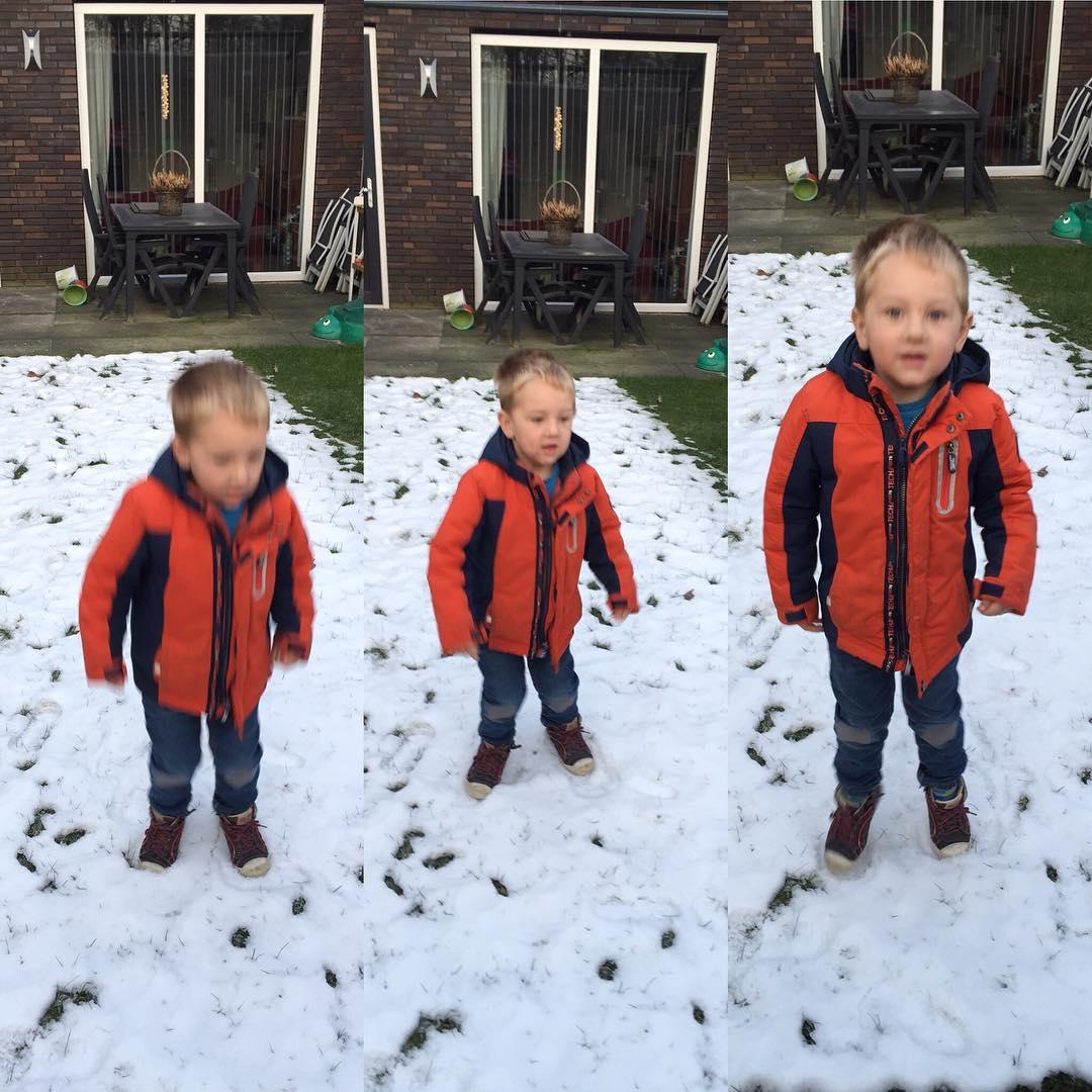 #goedemorgen365 #springen op de #sneeuw wat er nog lag