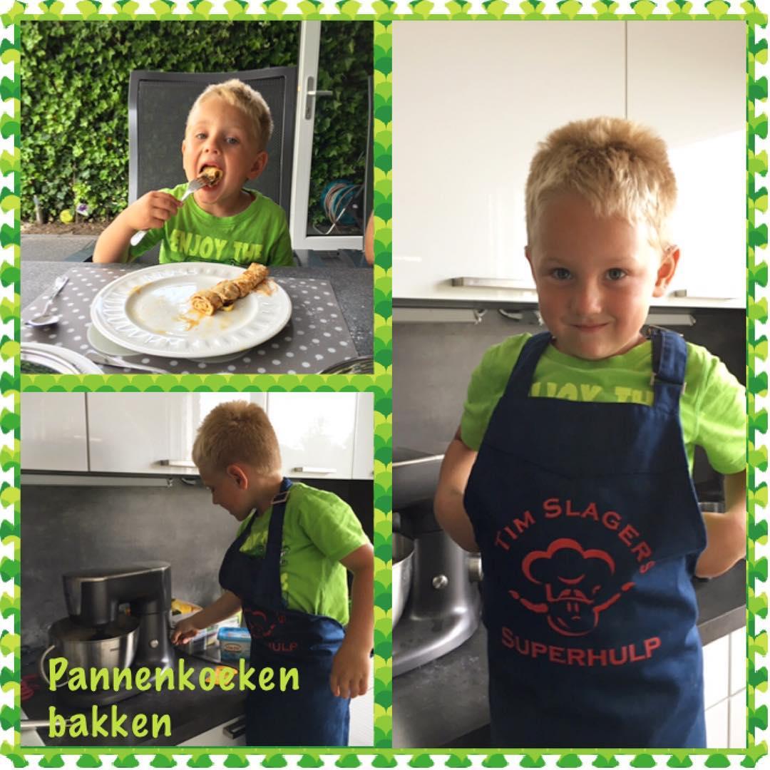 #goedemorgen365 vandaag eten we #pannenkoeken en Tim is een #superhulp in de keuken