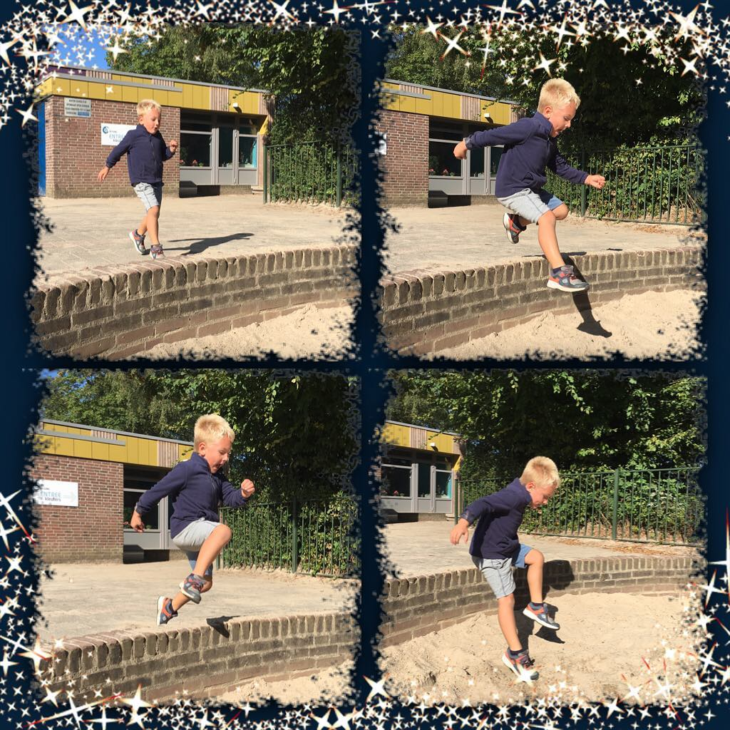 #goedemorgen365 #springen over het muurtje van de #zandbak #buitenspelen