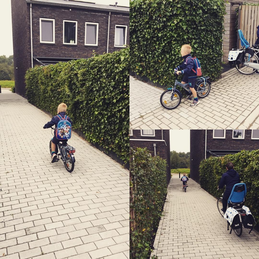 #goedemorgen365 op de fiets naar school vandaag, zelf rugtas dragen