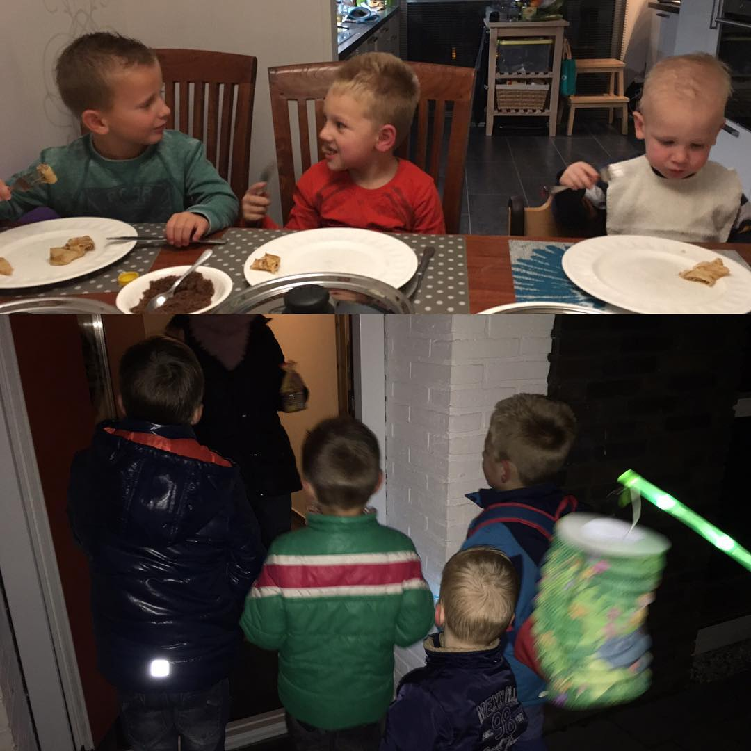 #sintmaarten eerst samen #pannenkoeken eten en daarna met een #lampion de deuren langs #11november #tms