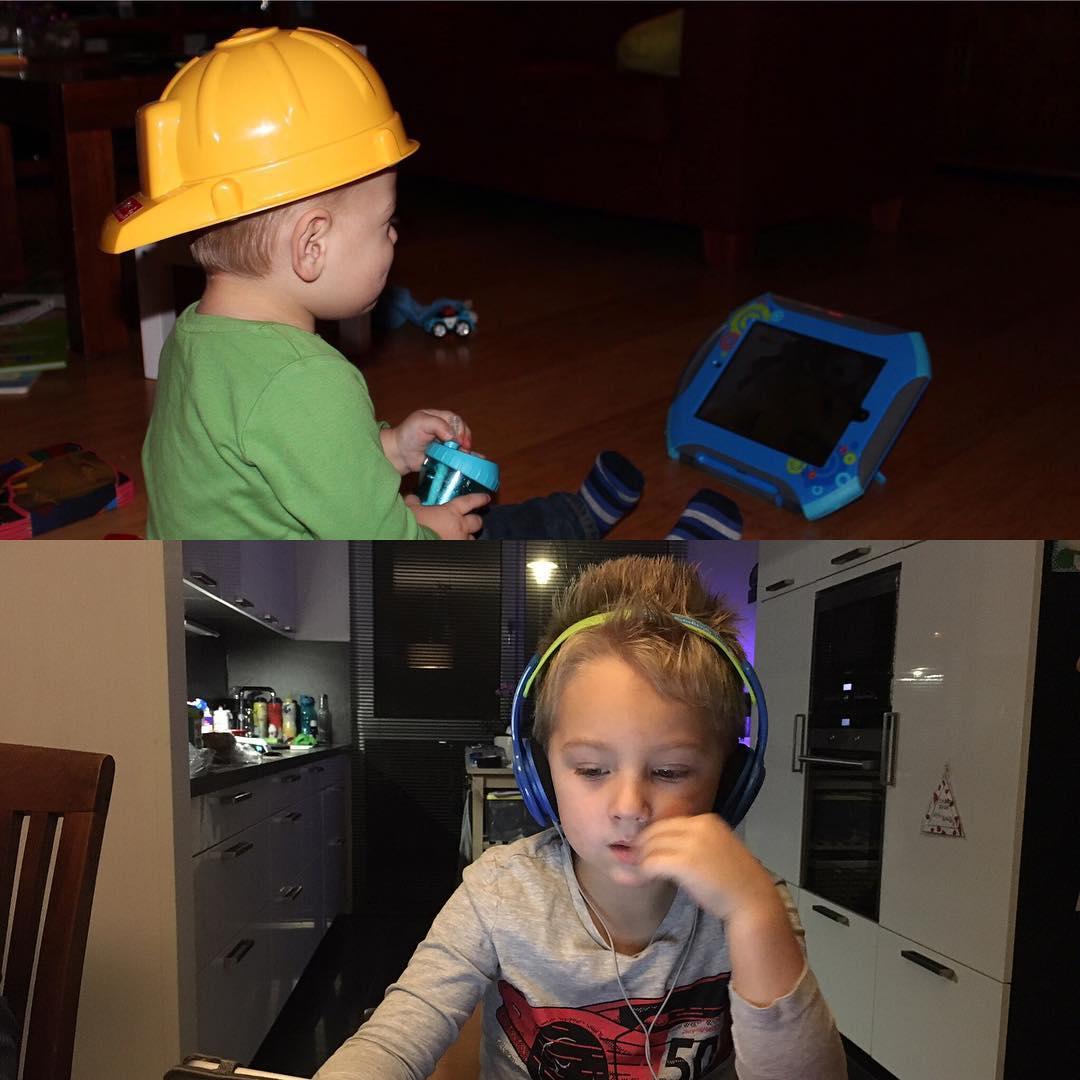 #goedemorgen365 3 jaar verder iPad is kleiner geworden en Tim een stuk groter. Maar het filmpjes kijken blijft.
